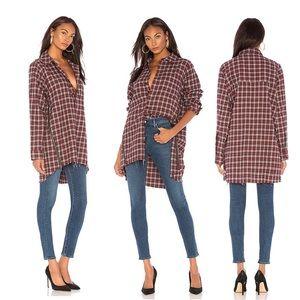 One Teaspoon Upsized Checkered Shirt Side Zip Fray